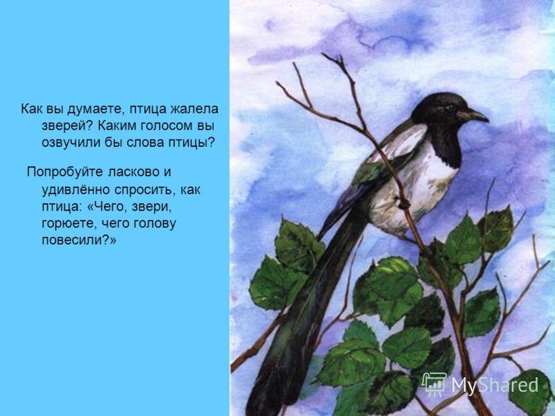 Как вы думаете, птица жалела зверей? Каким голосом вы озвучили бы слова птицы? Попробуйте ласково и удивлённо спросить, как птица: «Чего, звери, горюете, чего голову повесили?»