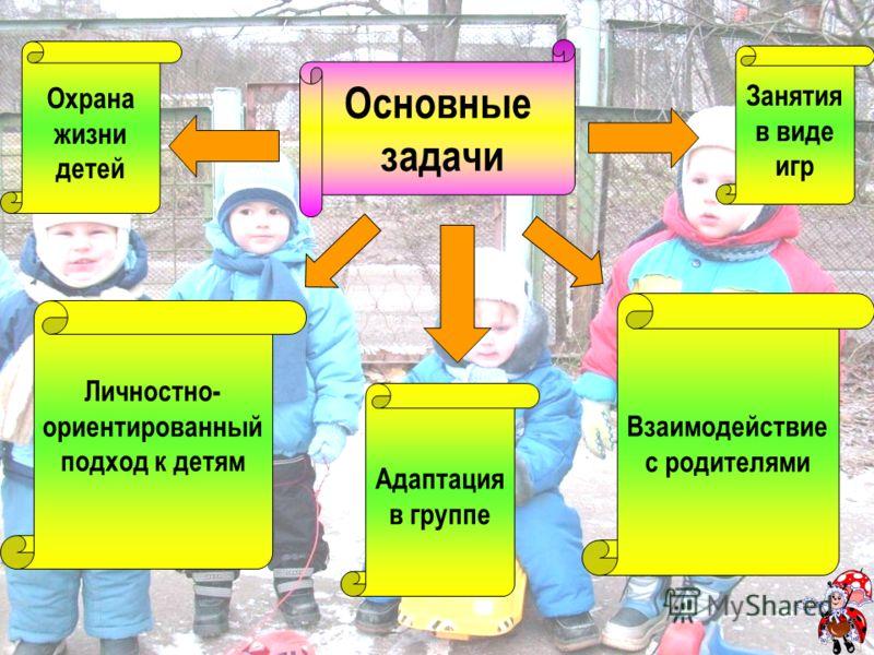 Основные задачи Охрана Жизни детей Охрана жизни детей Основные задачи Личностно- ориентированный подход к детям Адаптация в группе Занятия в виде игр Взаимодействие с родителями