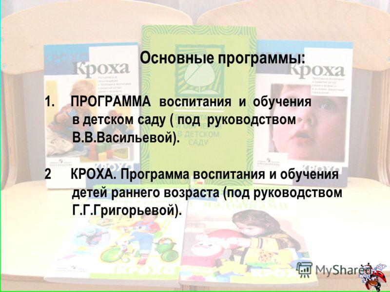 Основные программы: 1.ПРОГРАММА воспитания и обучения в детском саду ( под руководством В.В.Васильевой). 2КРОХА. Программа воспитания и обучения детей раннего возраста (под руководством Г.Г.Григорьевой).