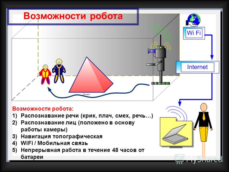 Возможности робота: 1)Распознавание речи (крик, плач, смех, речь…) 2)Распознавание лиц (положено в основу работы камеры) 3)Навигация топографическая 4)WiFi / Мобильная связь 5)Непрерывная работа в течение 48 часов от батареи Возможности робота
