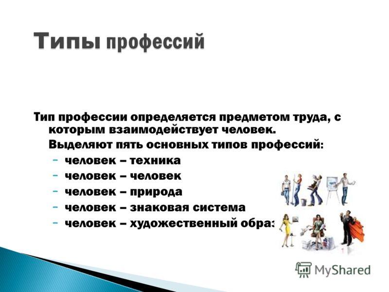 Тип профессии определяется предметом труда, с которым взаимодействует человек. Выделяют пять основных типов профессий : – человек – техника – человек – человек – природа – человек – знаковая система – человек – художественный образ