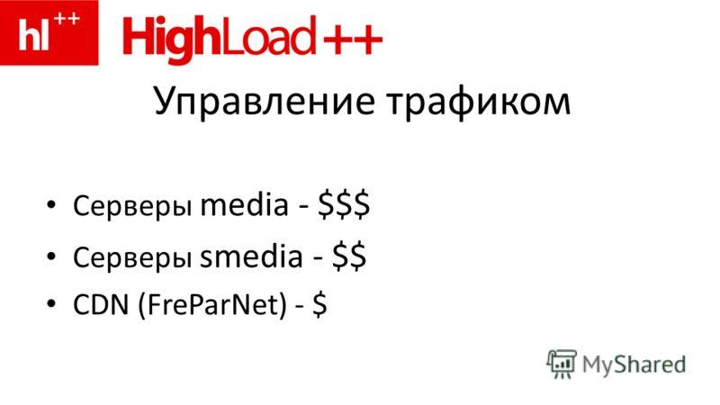 Управление трафиком Серверы media - $$$ Серверы smedia - $$ CDN (FreParNet) - $
