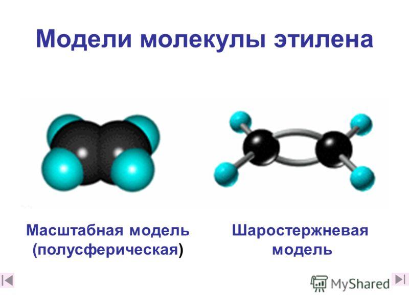 Модели молекулы этилена Масштабная модель (полусферическая) Шаростержневая модель