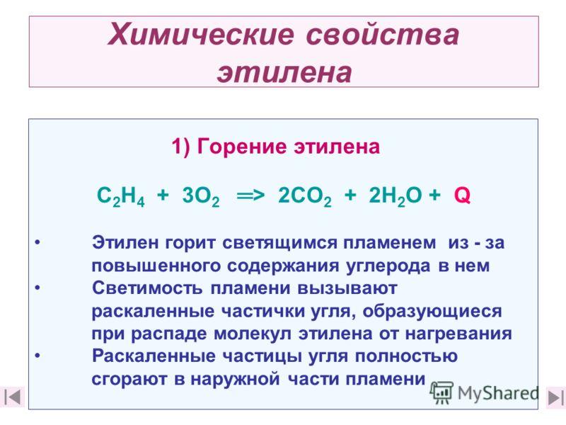 Химические свойства этилена 1) Горение этилена C 2 Н 4 + 3О 2 > 2СО 2 + 2Н 2 О + Q Этилен горит светящимся пламенем из - за повышенного содержания углерода в нем Светимость пламени вызывают раскаленные частички угля, образующиеся при распаде молекул