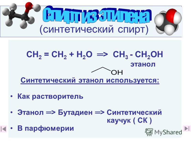 (синтетический спирт) СН 2 = СН 2 + Н 2 О > СН 3 - СН 2 ОН этанол Синтетический этанол используется: Как растворитель Этанол > Бутадиен > Синтетический каучук ( СК ) В парфюмерии