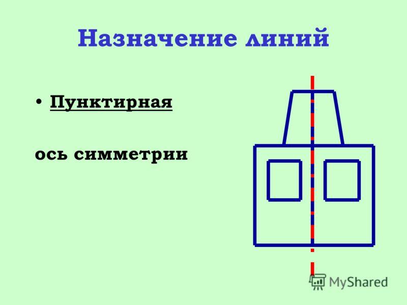 Назначение линий Пунктирная ось симметрии