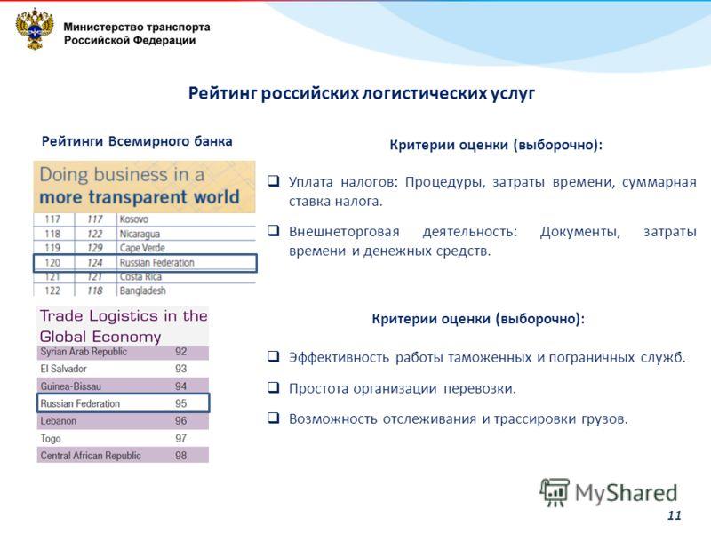 11 Рейтинг российских логистических услуг Рейтинги Всемирного банка Критерии оценки (выборочно): Уплата налогов: Процедуры, затраты времени, суммарная ставка налога. Внешнеторговая деятельность: Документы, затраты времени и денежных средств. Критерии