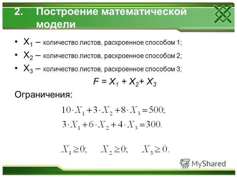 2.Построение математической модели X 1 – количество листов, раскроенное способом 1; X 2 – количество листов, раскроенное способом 2; X 3 – количество листов, раскроенное способом 3; F = X 1 + X 2 + X 3 Ограничения: