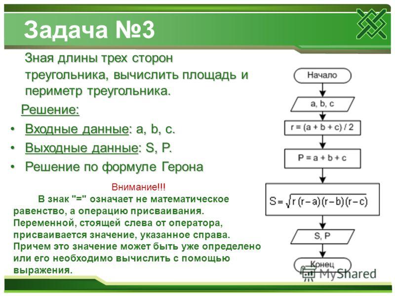 Задача 3 Зная длины трех сторон треугольника, вычислить площадь и периметр треугольника. Решение: Входные данные: a, b, c.Входные данные: a, b, c. Выходные данные: S, P.Выходные данные: S, P. Решение по формуле ГеронаРешение по формуле Герона Внимани