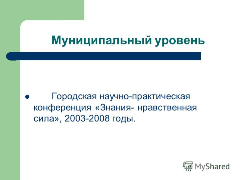 Муниципальный уровень Городская научно-практическая конференция «Знания- нравственная сила», 2003-2008 годы.