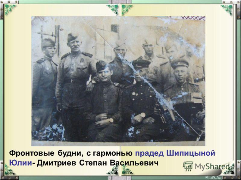 Фронтовые будни, с гармонью прадед Шипицыной Юлии- Дмитриев Степан Васильевич