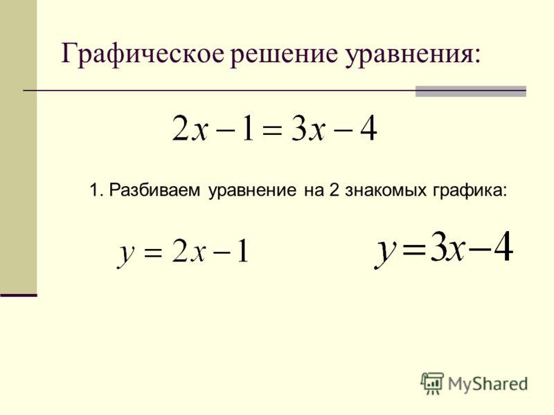 Графическое решение уравнения: 1. Разбиваем уравнение на 2 знакомых графика: