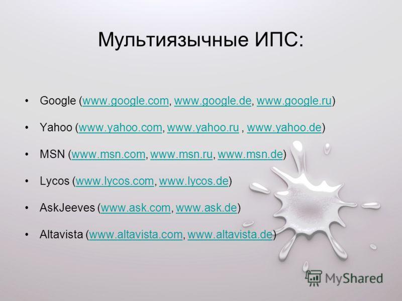 Мультиязычные ИПС: Google (www.google.com, www.google.de, www.google.ru)www.google.comwww.google.dewww.google.ru Yahoo (www.yahoo.com, www.yahoo.ru, www.yahoo.de)www.yahoo.comwww.yahoo.ruwww.yahoo.de MSN (www.msn.com, www.msn.ru, www.msn.de)www.msn.c