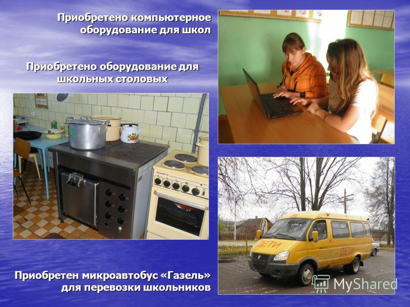 Приобретено компьютерное оборудование для школ Приобретено оборудование для школьных столовых Приобретен микроавтобус «Газель» для перевозки школьников