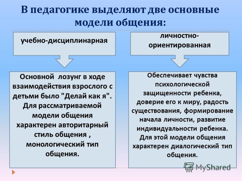 В педагогике выделяют две основные модели общения : Основной лозунг в ходе взаимодействия взрослого с детьми было