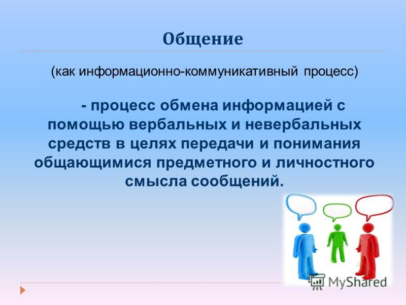 Общение (как информационно-коммуникативный процесс) - процесс обмена информацией с помощью вербальных и невербальных средств в целях передачи и понимания общающимися предметного и личностного смысла сообщений.