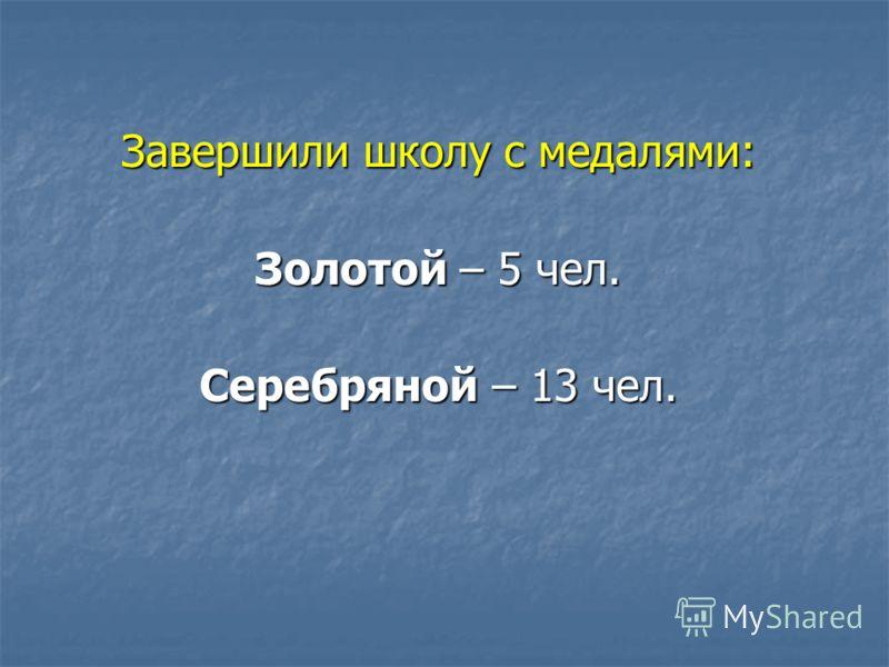 Завершили школу с медалями: Золотой – 5 чел. Серебряной – 13 чел.