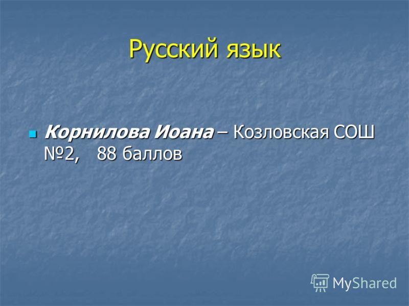 Русский язык Корнилова Иоана – Козловская СОШ 2, 88 баллов Корнилова Иоана – Козловская СОШ 2, 88 баллов