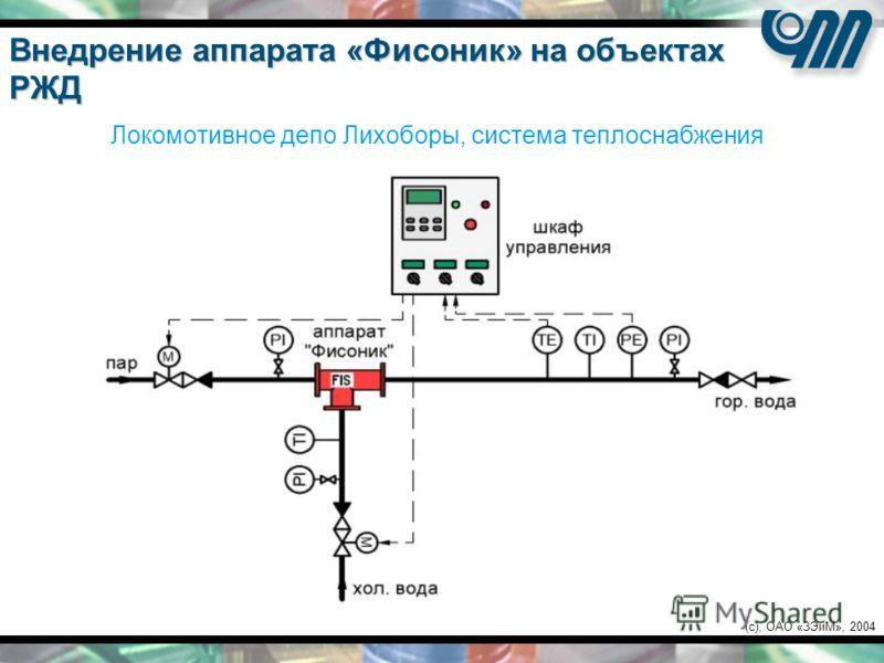 (c), ОАО «ЗЭиМ», 2004 Локомотивное депо Лихоборы, система теплоснабжения Внедрение аппарата «Фисоник» на объектах РЖД