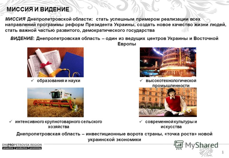 МИССИЯ И ВИДЕНИЕ МИССИЯ Днепропетровской области: стать успешным примером реализации всех направлений программы реформ Президента Украины, создать новое качество жизни людей, стать важной частью развитого, демократического государства ВИДЕНИЕ: Днепро