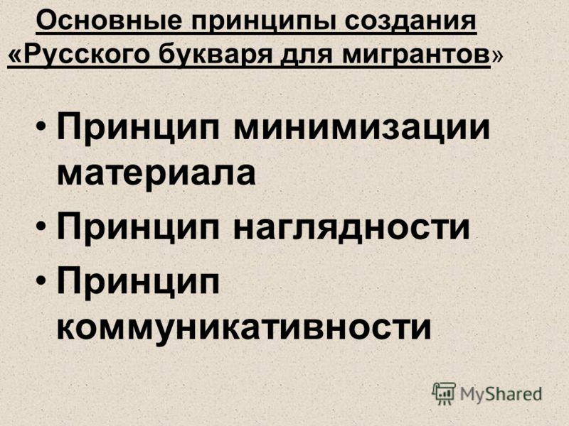 Основные принципы создания «Русского букваря для мигрантов » Принцип минимизации материала Принцип наглядности Принцип коммуникативности