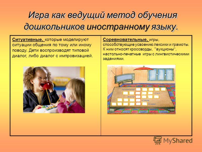 Игра как ведущий метод обучения дошкольников языку. Игра как ведущий метод обучения дошкольников иностранному языку. Ситуативные, которые моделируют ситуации общения по тому или иному поводу. Дети воспроизводят типовой диалог, либо диалог с импровиза