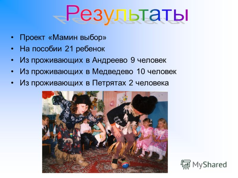 Проект «Мамин выбор» На пособии 21 ребенок Из проживающих в Андреево 9 человек Из проживающих в Медведево 10 человек Из проживающих в Петрятах 2 человека