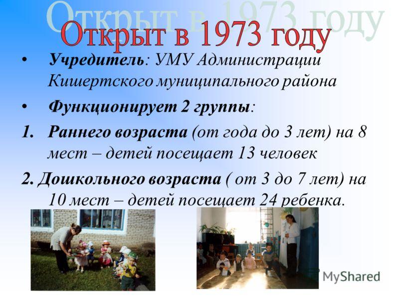 Учредитель: УМУ Администрации Кишертского муниципального района Функционирует 2 группы: 1.Раннего возраста (от года до 3 лет) на 8 мест – детей посещает 13 человек 2. Дошкольного возраста ( от 3 до 7 лет) на 10 мест – детей посещает 24 ребенка.