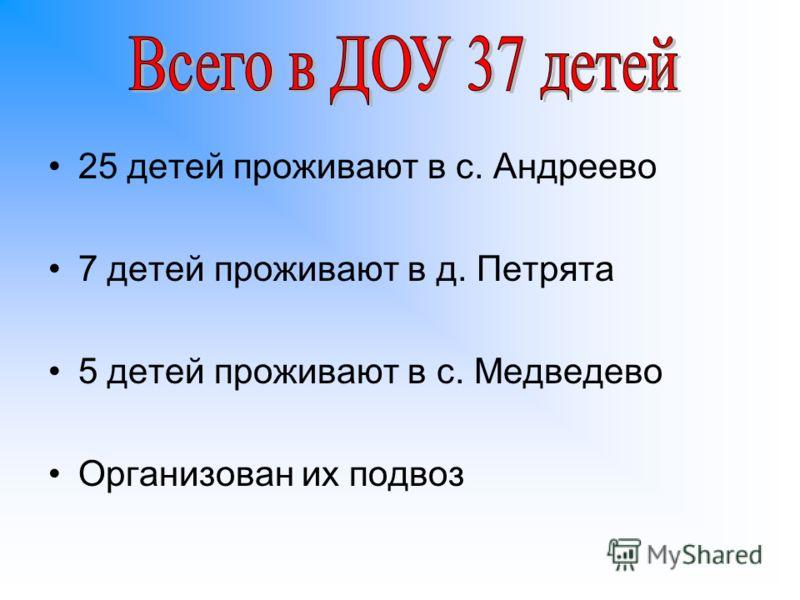 25 детей проживают в с. Андреево 7 детей проживают в д. Петрята 5 детей проживают в с. Медведево Организован их подвоз
