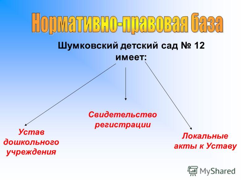Устав дошкольного учреждения Шумковский детский сад 12 имеет: Свидетельство регистрации Локальные акты к Уставу