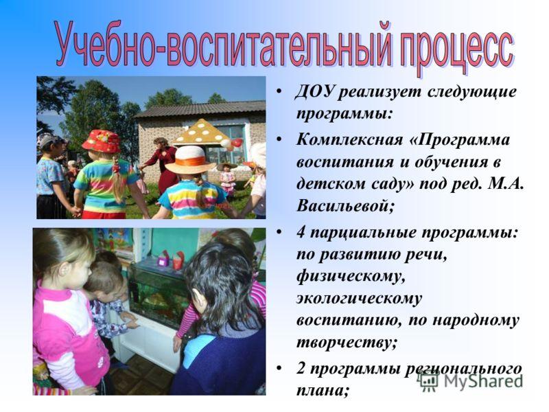 ДОУ реализует следующие программы: Комплексная «Программа воспитания и обучения в детском саду» под ред. М.А. Васильевой; 4 парциальные программы: по развитию речи, физическому, экологическому воспитанию, по народному творчеству; 2 программы регионал