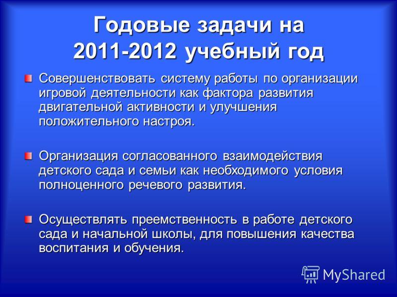Годовые задачи на 2011-2012 учебный год Совершенствовать систему работы по организации игровой деятельности как фактора развития двигательной активности и улучшения положительного настроя. Организация согласованного взаимодействия детского сада и сем