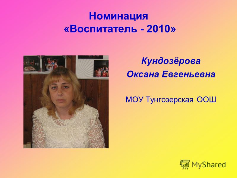Номинация «Воспитатель - 2010» Кундозёрова Оксана Евгеньевна МОУ Тунгозерская ООШ