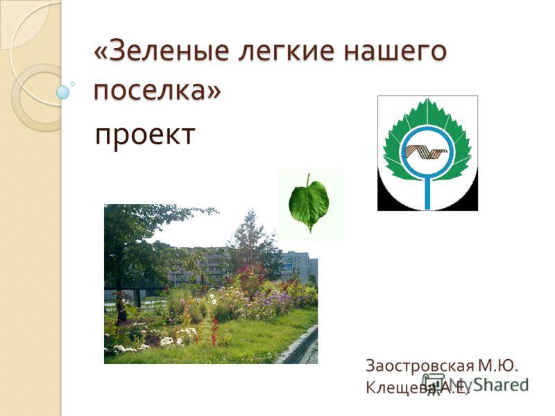 « Зеленые легкие нашего поселка » проект Заостровская М.Ю. Клещева А.Е.