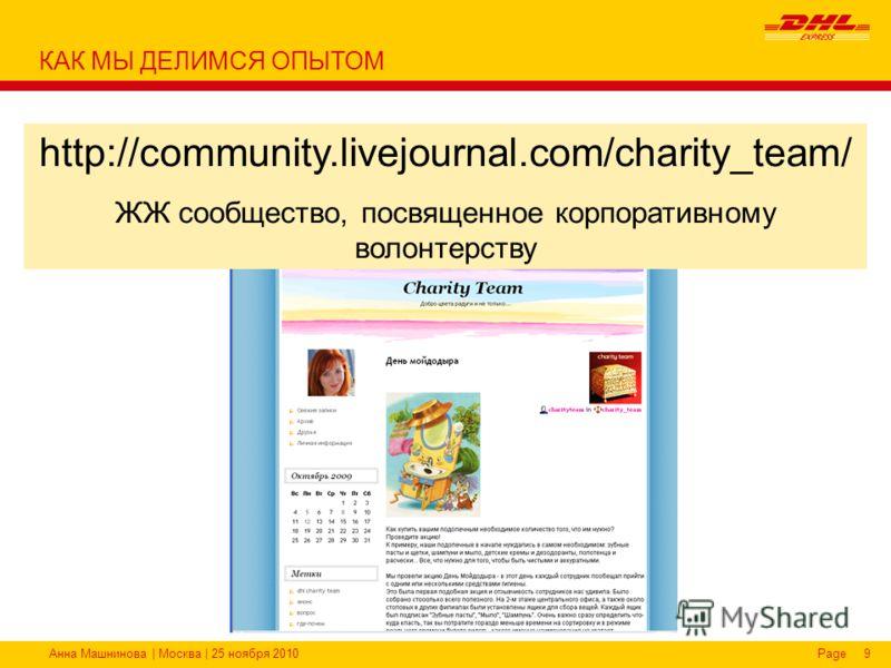 Анна Машнинова | Москва | 25 ноября 2010Page9 http://community.livejournal.com/charity_team/ ЖЖ сообщество, посвященное корпоративному волонтерству КАК МЫ ДЕЛИМСЯ ОПЫТОМ