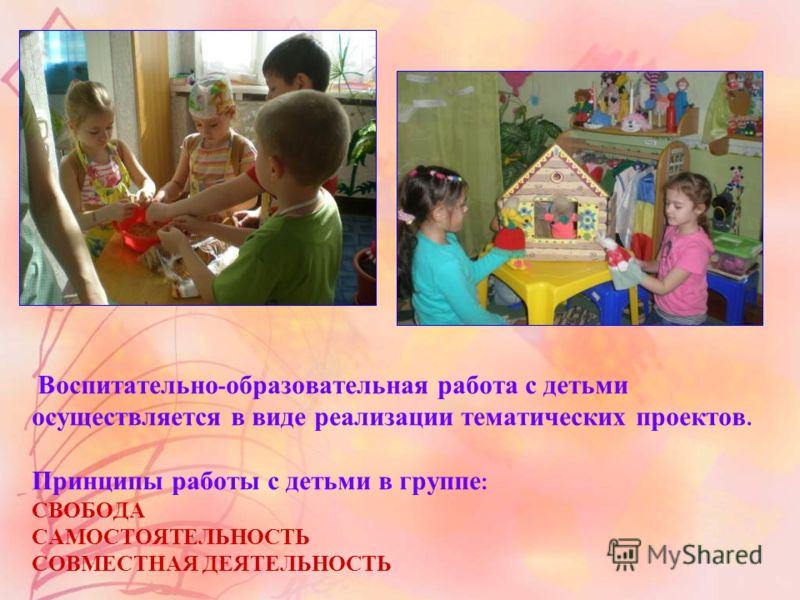 Воспитательно - образовательная работа с детьми осуществляется в виде реализации тематических проектов. Принципы работы с детьми в группе : СВОБОДА САМОСТОЯТЕЛЬНОСТЬ СОВМЕСТНАЯ ДЕЯТЕЛЬНОСТЬ