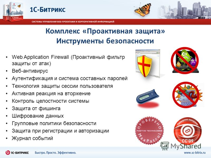 Комплекс «Проактивная защита» Инструменты безопасности Web Application Firewall (Проактивный фильтр защиты от атак) Веб-антивирус Аутентификация и система составных паролей Технология защиты сессии пользователя Активная реакция на вторжение Контроль