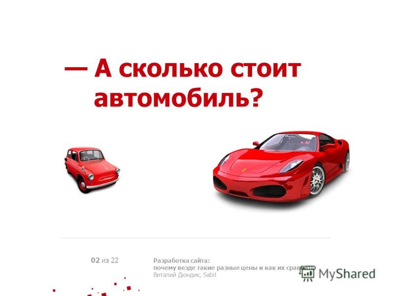 А сколько стоит автомобиль? 02 из 22 Разработка сайта: почему везде такие разные цены и как их сравнить Виталий Дюндик, Sabit