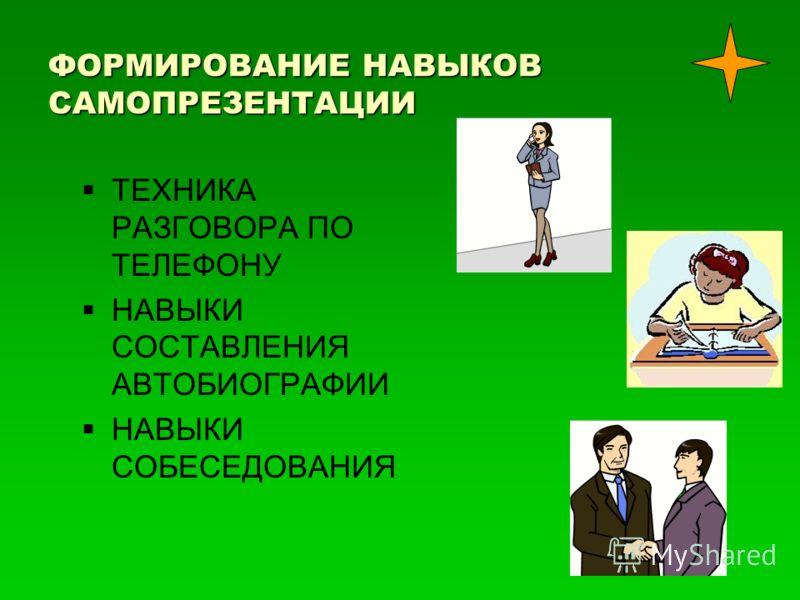 ФОРМИРОВАНИЕ НАВЫКОВ САМОПРЕЗЕНТАЦИИ ТЕХНИКА РАЗГОВОРА ПО ТЕЛЕФОНУ НАВЫКИ СОСТАВЛЕНИЯ АВТОБИОГРАФИИ НАВЫКИ СОБЕСЕДОВАНИЯ