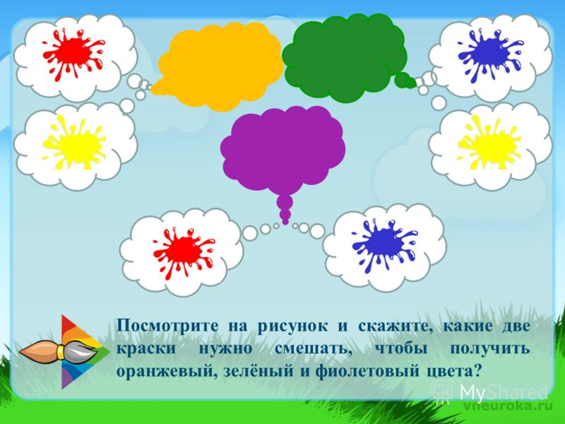 Посмотрите на рисунок и скажите, какие две краски нужно смешать, чтобы получить оранжевый, зелёный и фиолетовый цвета?