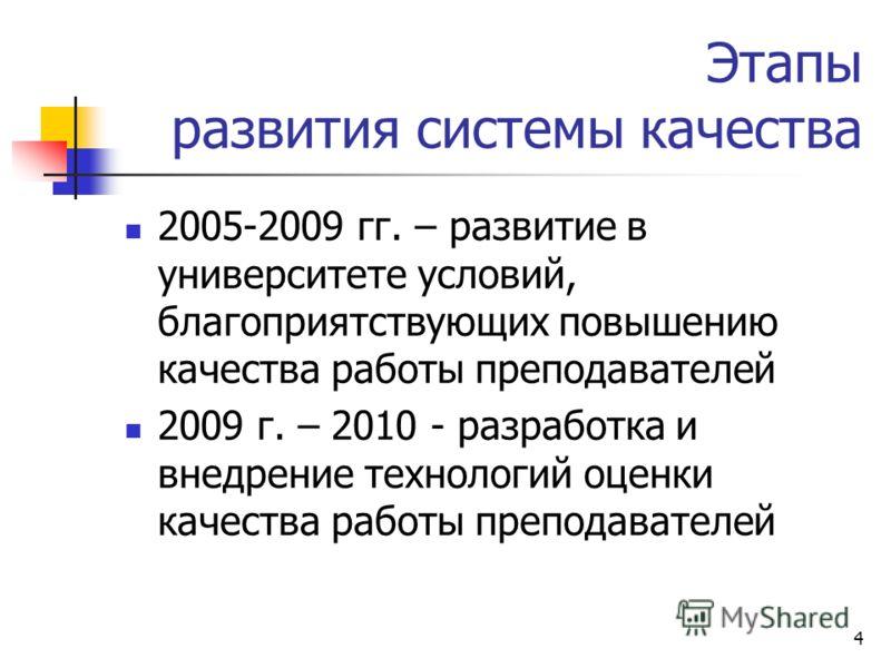 4 Этапы развития системы качества 2005-2009 гг. – развитие в университете условий, благоприятствующих повышению качества работы преподавателей 2009 г. – 2010 - разработка и внедрение технологий оценки качества работы преподавателей