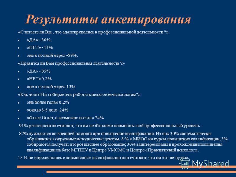 Результаты анкетирования «Считаете ли Вы, что адаптировались в профессиональной деятельности ?» «ДА» - 30%, «НЕТ» - 11% «не в полной мере» -59%. «Нравится ли Вам профессиональная деятельность ?» «ДА» - 85% «НЕТ» 0,2% «не в полной мере» 15% «Как долго