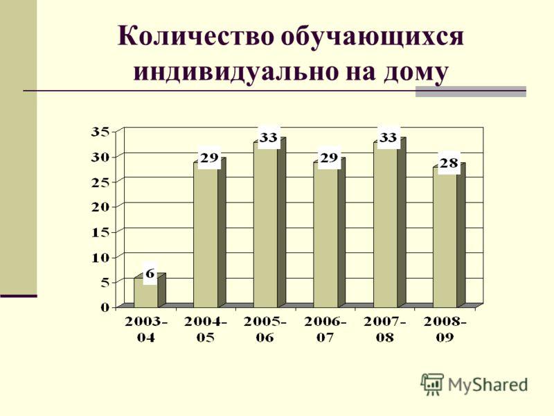 Количество обучающихся индивидуально на дому