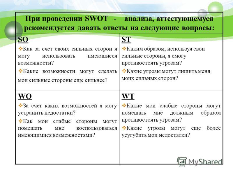 При проведении SWOT - анализа, аттестующемуся рекомендуется давать ответы на следующие вопросы: SO Как за счет своих сильных сторон я могу использовать имеющиеся возможности? Какие возможности могут сделать мои сильные стороны еще сильнее? ST Каким о