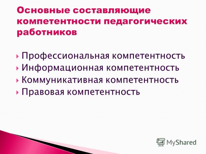 Профессиональная компетентность Информационная компетентность Коммуникативная компетентность Правовая компетентность