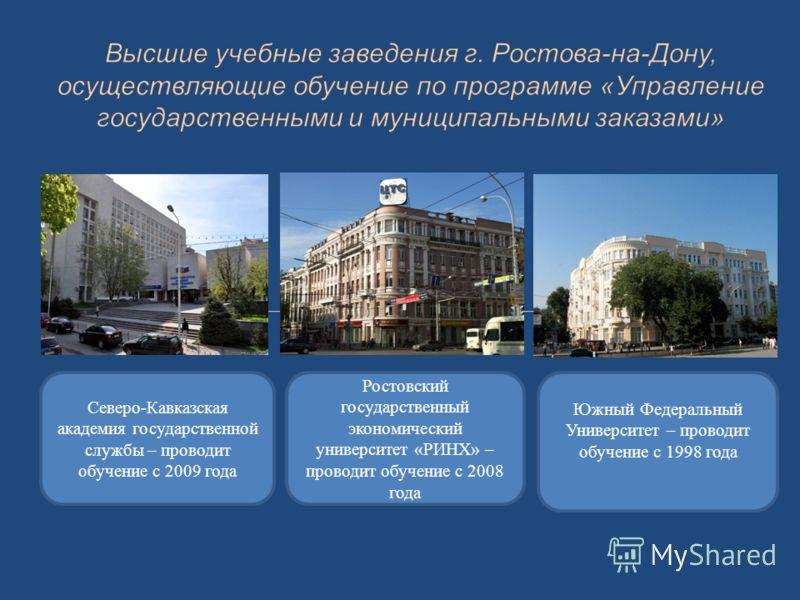 Северо-Кавказская академия государственной службы – проводит обучение с 2009 года Ростовский государственный экономический университет «РИНХ» – проводит обучение с 2008 года Южный Федеральный Университет – проводит обучение с 1998 года