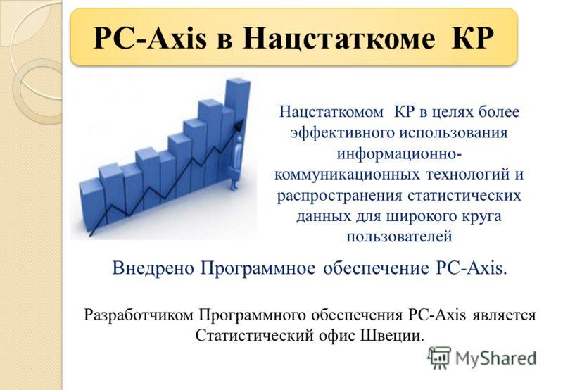 PC-Axis в Нацстаткоме КР Внедрено Программное обеспечение PC-Axis. Разработчиком Программного обеспечения PC-Axis является Статистический офис Швеции. Нацстаткомом КР в целях более эффективного использования информационно- коммуникационных технологий