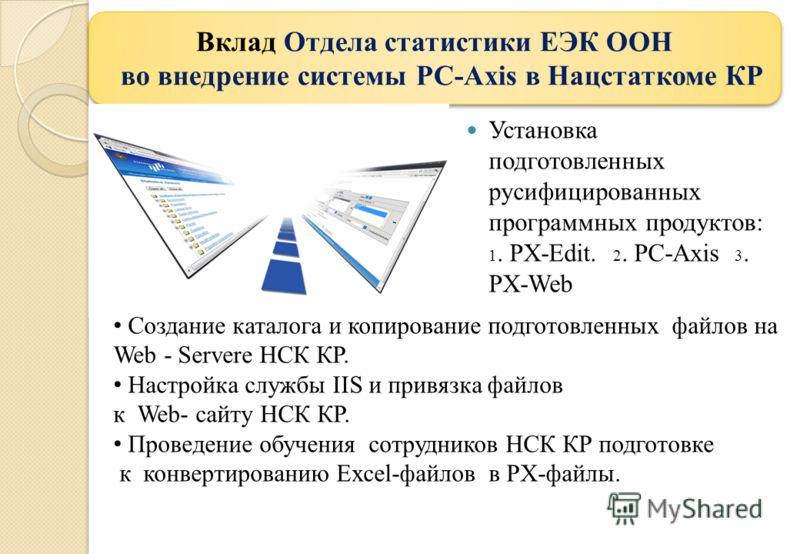Установка подготовленных русифицированных программных продуктов: 1. PX-Edit. 2. PC-Axis 3. PX-Web Вклад Отдела статистики ЕЭК ООН во внедрение системы PC-Axis в Нацстаткоме КР Вклад Отдела статистики ЕЭК ООН во внедрение системы PC-Axis в Нацстаткоме