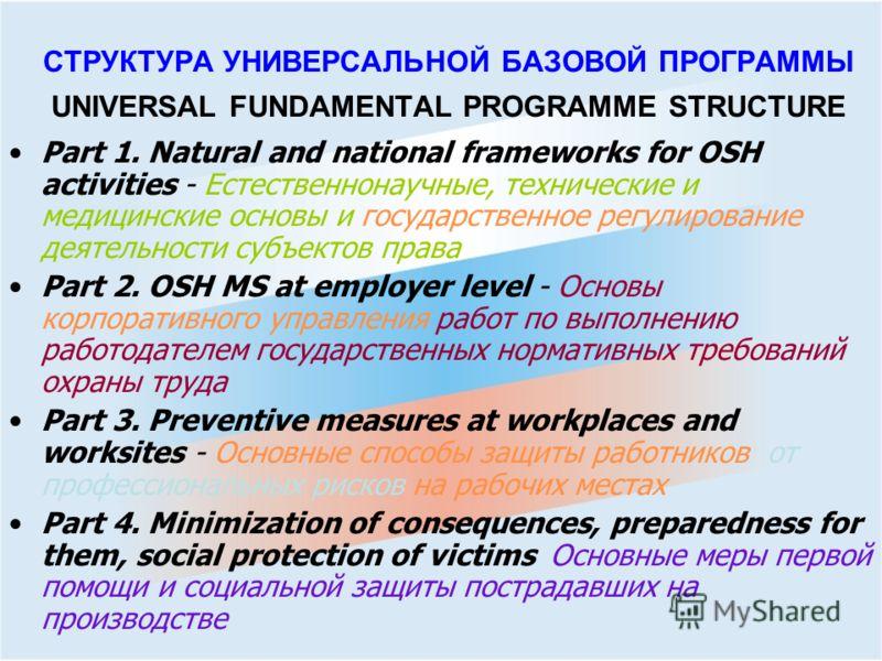 СТРУКТУРА УНИВЕРСАЛЬНОЙ БАЗОВОЙ ПРОГРАММЫ UNIVERSAL FUNDAMENTAL PROGRAMME STRUCTURE Part 1. Natural and national frameworks for OSH activities - Естественнонаучные, технические и медицинские основы и государственное регулирование деятельности субъект