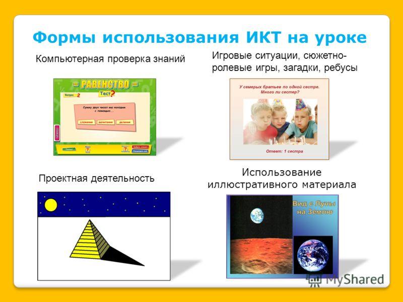 Формы использования ИКТ на уроке Компьютерная проверка знаний Игровые ситуации, сюжетно- ролевые игры, загадки, ребусы Проектная деятельность Использование иллюстративного материала